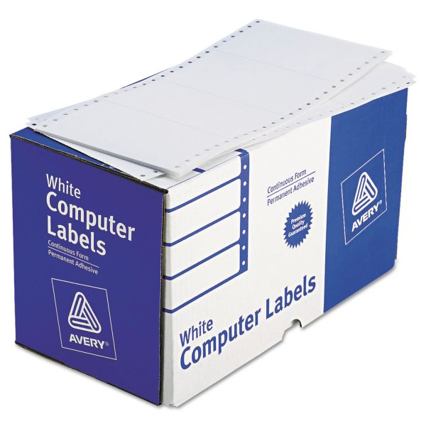 Avery Dot Matrix Printer Shipping Labels, 1 Across, 2 15/16 x 5, White, 3000/Box