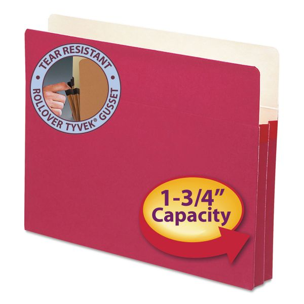 """Smead 1 3/4"""" Exp Colored File Pocket, Straight Tab, Letter, Red"""