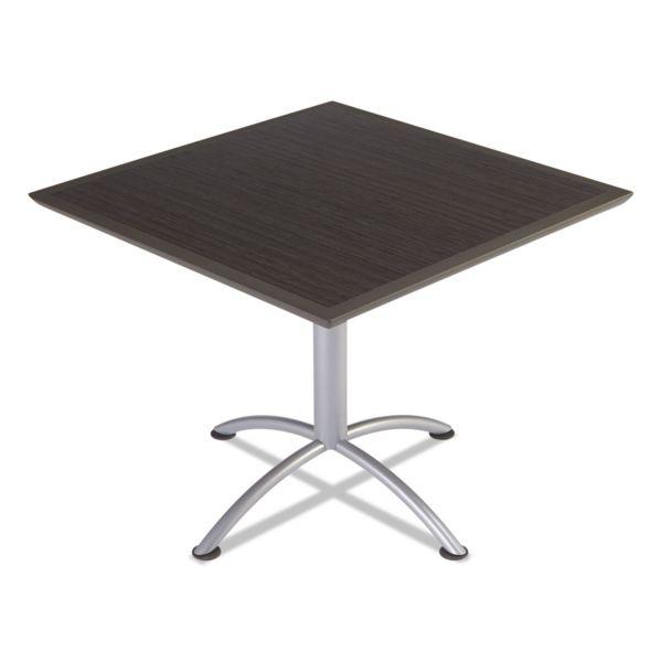 Iceberg iLand Table, Dura Edge, Square Bistro Style, 36w x 36d x 42h, Gray Walnut/Silver