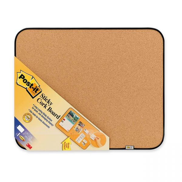 """Post-it Sticky Cork Board, 18"""" x 22"""", Gray and Black, Includes Command Fasteners"""