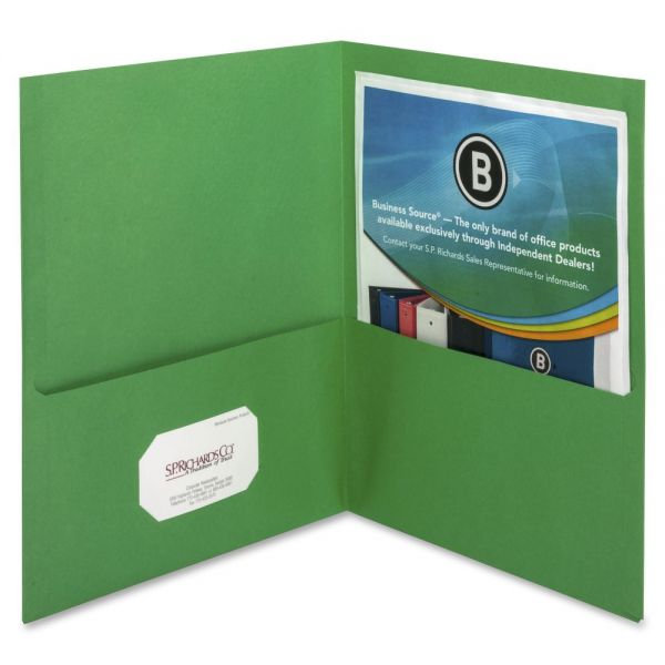 Business Source Green Two Pocket Folders