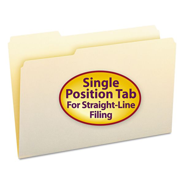 Smead File Folders, 1/3 Cut First Position, One-Ply Top Tab, Legal, Manila, 100/Box