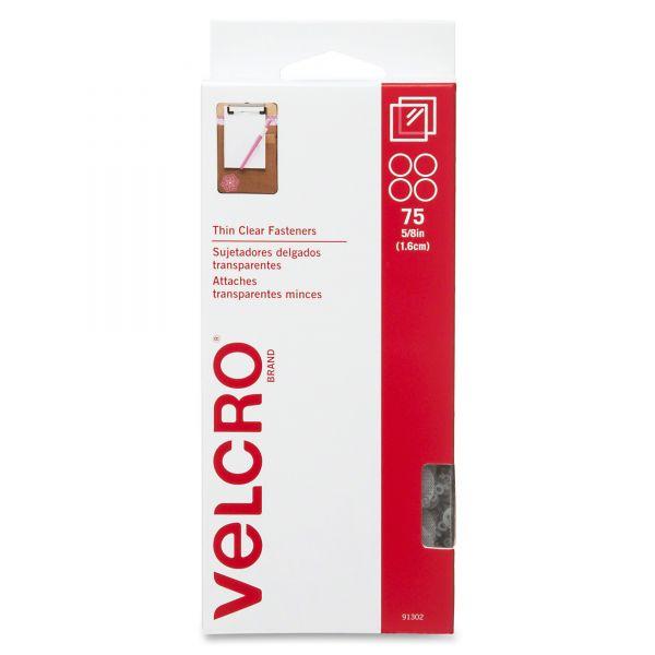 "Velcro Sticky-Back Hook & Loop Fasteners, 5/8"" Diameter Coins, Clear, 75 per Pack"