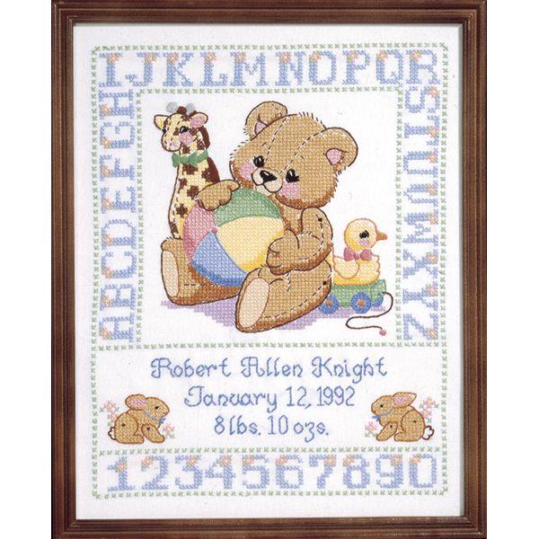 Janlynn Bear Birth Sampler Stamped Cross Stitch Kit