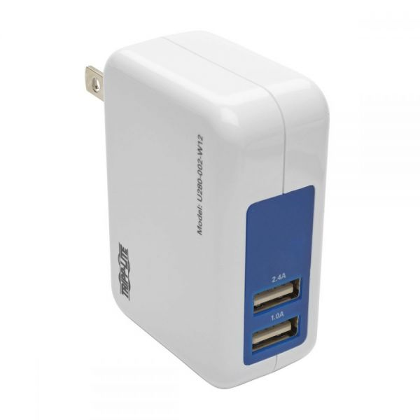 Tripp Lite 2-Port USB Wall/Travel Charger, 5V, 1.0/2.4A