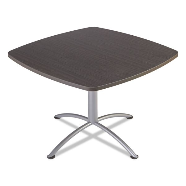 "Iceberg iLand Table, Contour, Square Seated Style, 42"" x 42"" x 29"", Gray Walnut/Silver"