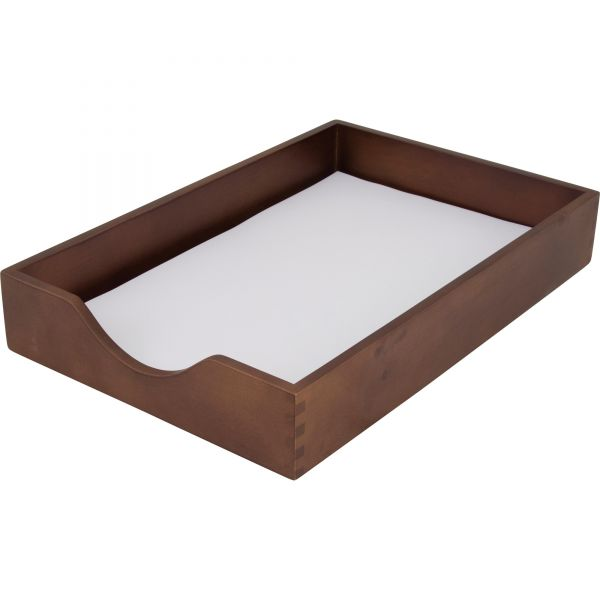 Carver Walnut Finish Solid Wood Desk Trays