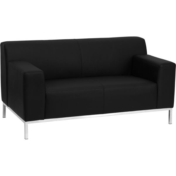 Flash Furniture HERCULES Definity Series Contemporary Black Leather Loveseat with Stainless Steel Frame