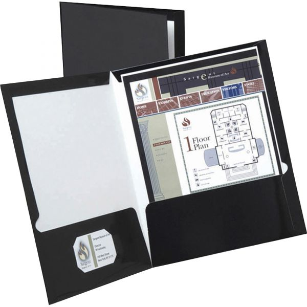 Oxford Black Laminated Two Pocket Folders