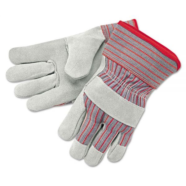 MCR Safety Economy Grade Leather Gloves, White/Red, X-Large, 12 Pairs