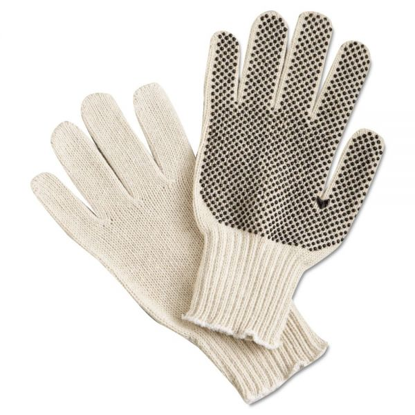 Memphis PVC Dot String-Knit Gloves, Cotton/Polyester, Large