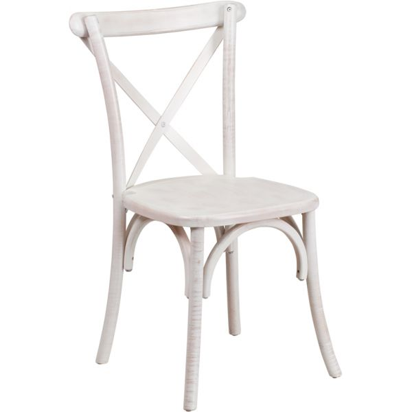Flash Furniture HERCULES Series Limewash Wood Cross Back Chair