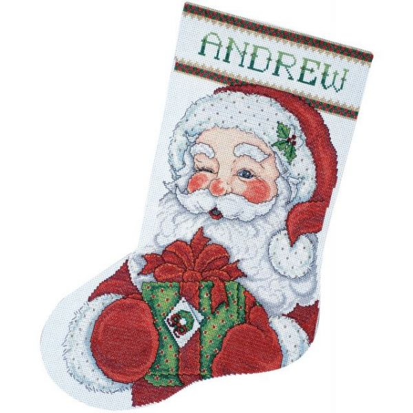 Winking Santa Stocking Counted Cross Stitch Kit