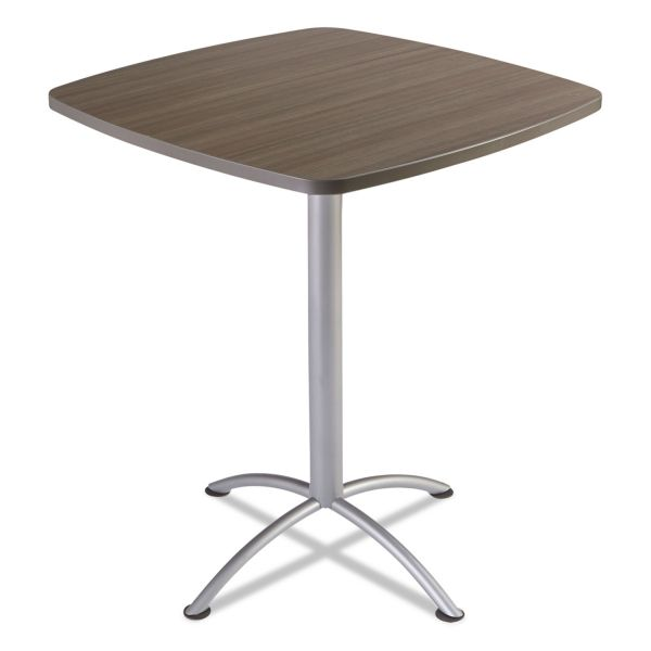 "Iceberg iLand Table, Contour, Square Seated Style, 42"" x 42"" x 42"", Natural Teak/Silver"