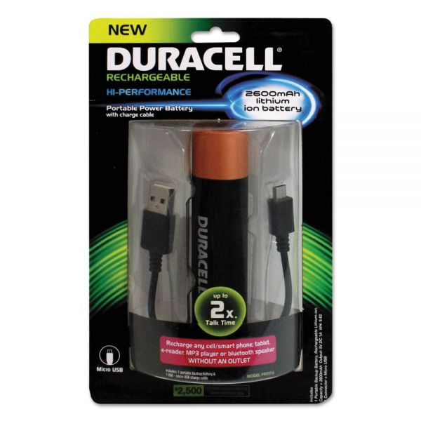 Duracell Portable Power Bank with Micro USB Cable, 2600 mAh, Red