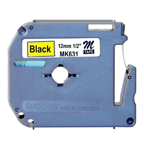 "Brother P-Touch M Series Tape Cartridge for P-Touch Labelers, 1/2""w, Black on Yellow"