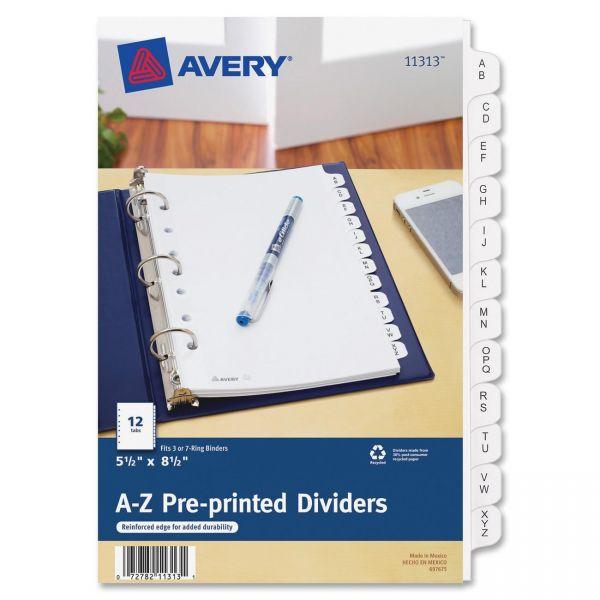 "Avery 5 1/2"" x 8 1/2"" Preprinted Alphabet Tab Index Dividers"