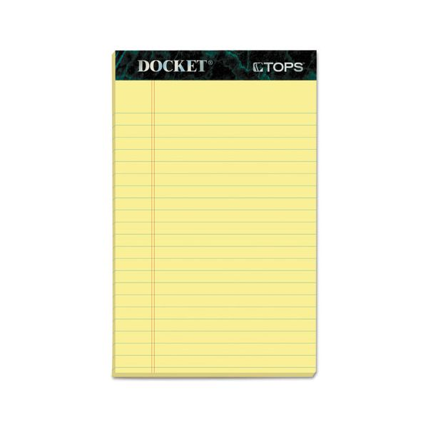 TOPS Docket Ruled Perforated Pads, 5 x 8, Canary, 50 Sheets, Dozen