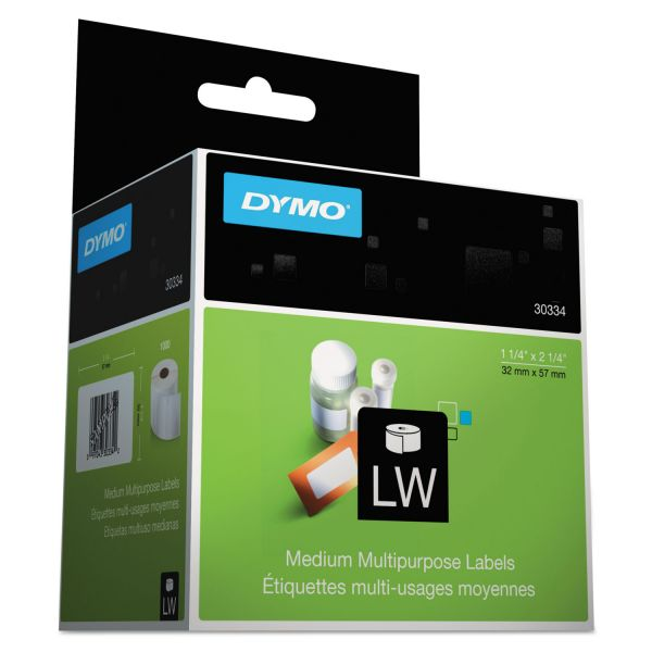 DYMO LabelWriter Address Labels, 1 1/4 x 2 1/4, White, 1000 Labels/Roll