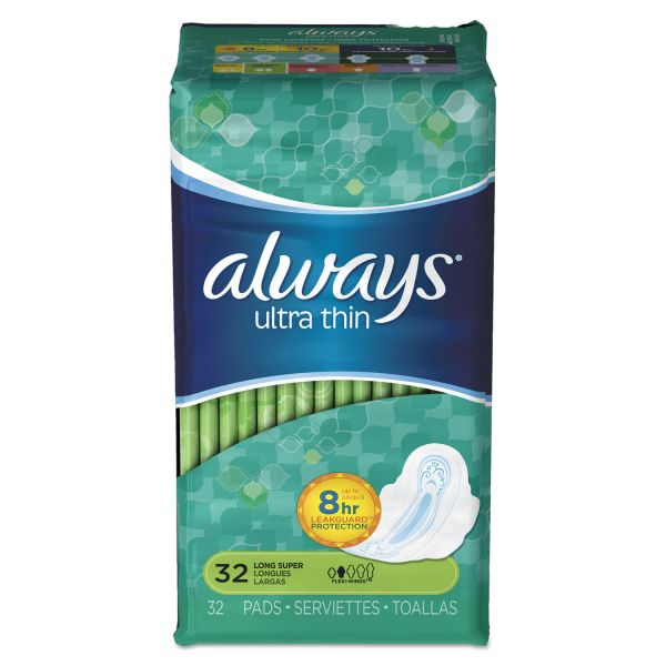 Always Ultra Thin Pads with Wings, Super Long, 32/Pack, 6/Carton