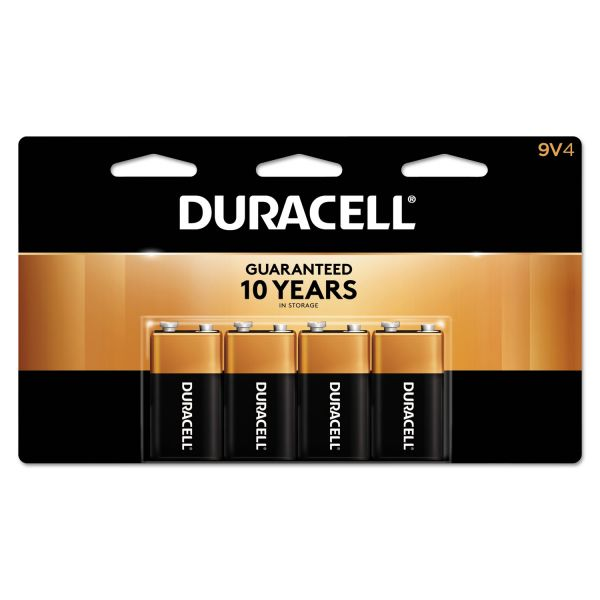 Duracell CopperTop Alkaline Batteries, 9V, 4/PK
