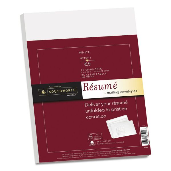 Southworth 25% Cotton Resume Envelopes, White, 24lb, 9 x 12, Wove, 25/Box