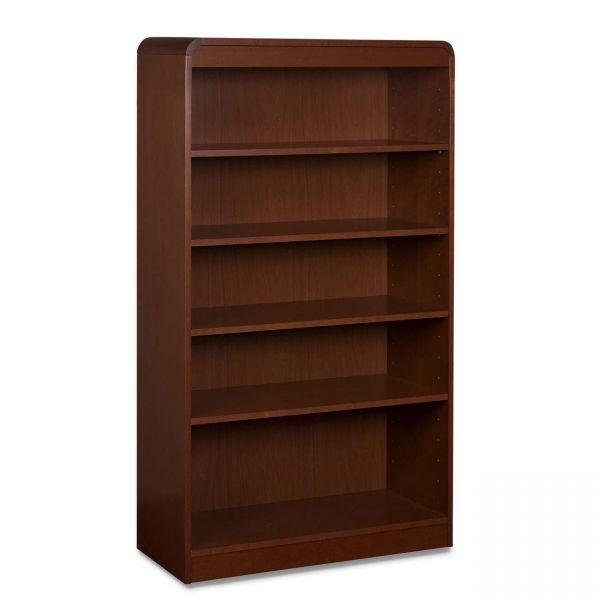 Lorell Radius 5-Shelf Hardwood Veneer Bookcase