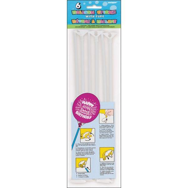 """Balloon Sticks & Cups 12"""" 6/Pkg"""