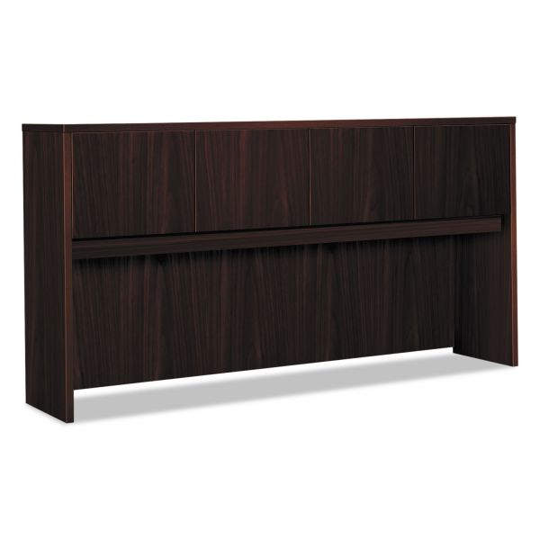 HON Laminate Hutch With Four Doors, 72w x 14 5/8d x 37 1/8h, Mahogany