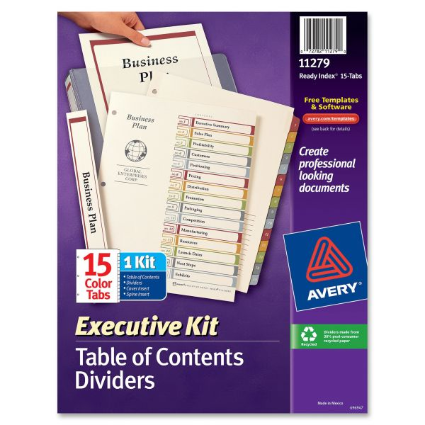 Avery Executive Kit Index 15-Tab Numbered Dividers