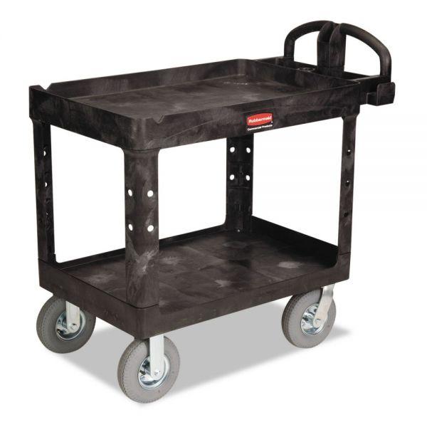 Rubbermaid Commercial Heavy-Duty Utility Cart, Two-Shelf, 25-7/8w x 45-1/4d x 37-1/8h, Black