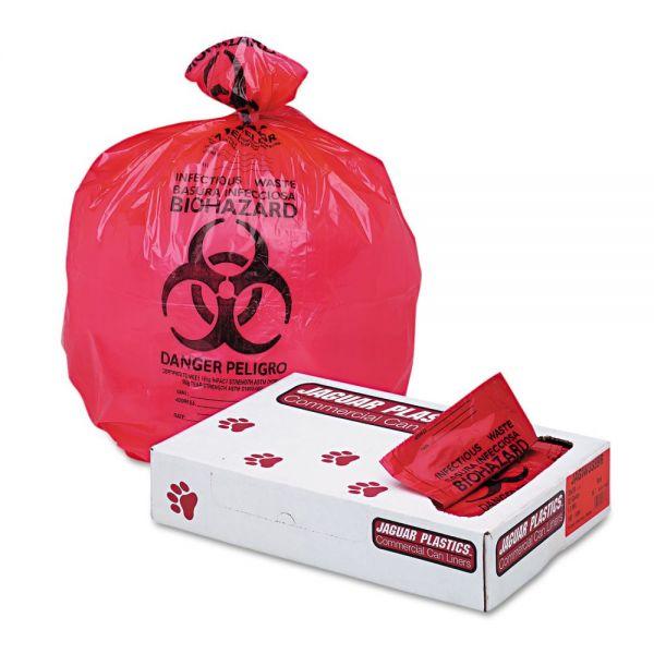 "Jaguar Plastics Health Care ""Bio-hazard"" 33 Gallon Trash Bags"