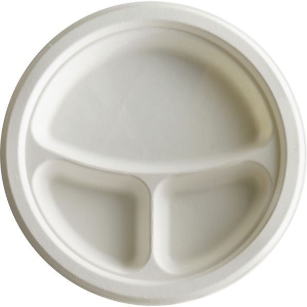 "Eco-Products 10"" Bagasse Compartment Plates"