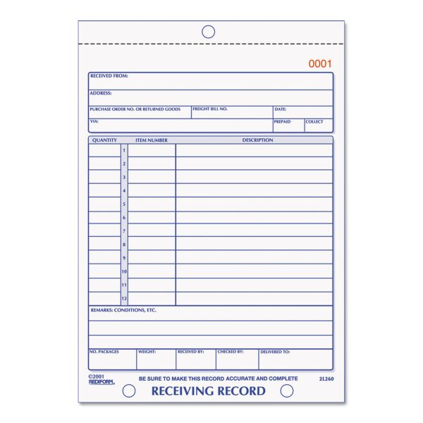 Rediform Carbonless Receiving Record Slip Book