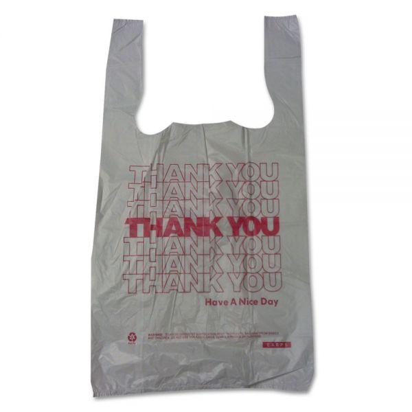 "Barnes Paper Company Plastic Thank You T-Sacks, 6"" x 4"" x 15"", 2 Mil, White"