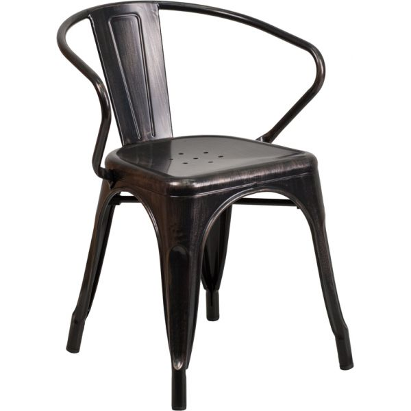 Flash Furniture Black-Antique Gold Metal Indoor-Outdoor Chair with Arms