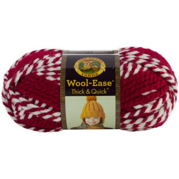 Lion Brand Wool-Ease Thick & Quick Yarn - Crimson Stripes