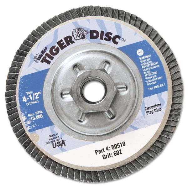 "Weiler Tiger Disc Angled Style Flap Disc, 4-1/2"" Diameter"