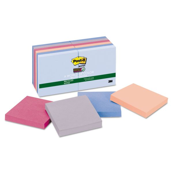 Post-it Notes Super Sticky Recycled Notes in Bali Colors, 3 x 3, 90-Sheet, 12/Pack