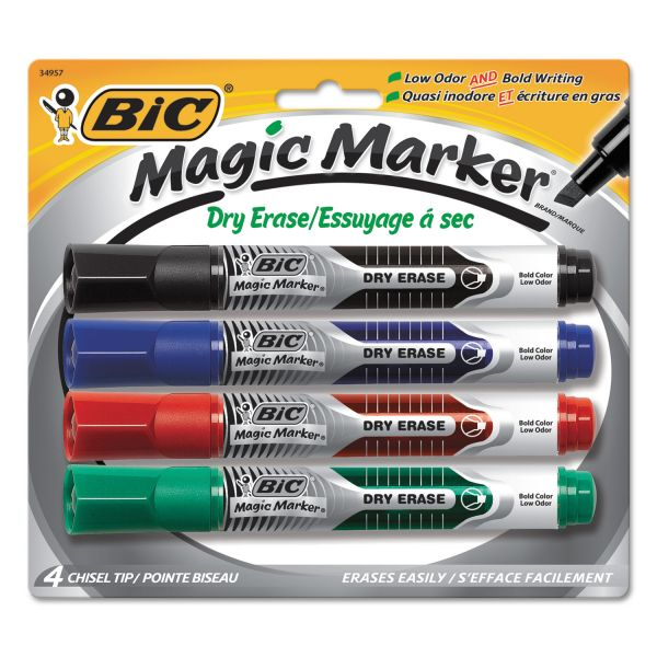 BIC Magic Marker Low Odor & Bold Writing Dry Erase Marker, Chisel, 4/PK
