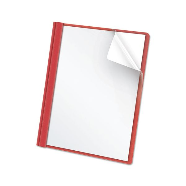 "Oxford Clear Front Report Cover, 3 Fasteners, Letter, 1/2"" Capacity, Red, 25/Box"