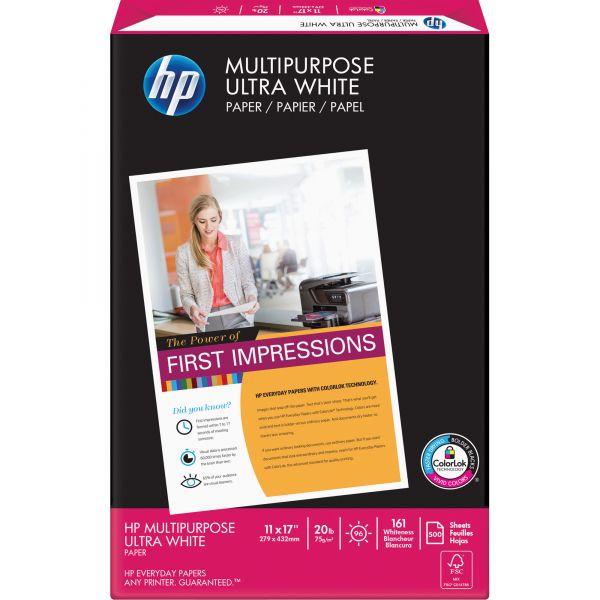 HP Multipurpose Paper, 96 Brightness, 20 lb, 11 x 17, White, 500 Sheets/Ream