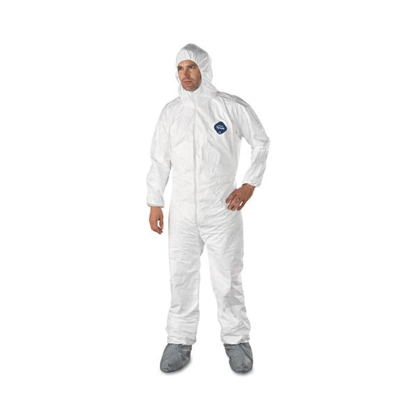 DuPont Tyvek Elastic-Cuff Hooded Coveralls w/Boots, White, X-Large, 25/Carton