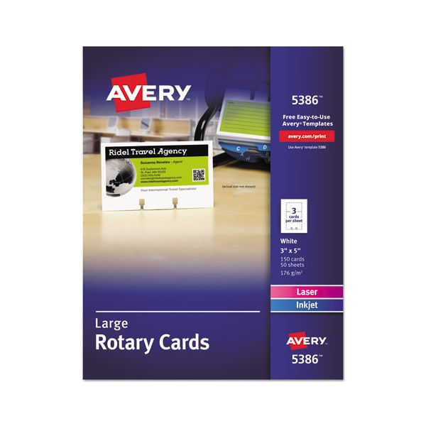 Avery Large Rotary Cards, Laser/Inkjet, 3 x 5, 3 Cards/Sheet, 150 Cards/Box