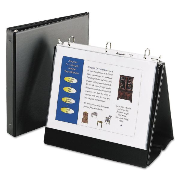 "Avery Easel Presentation Durable Binder, 1"" Round Rings, Holds 11 x 8 1/2 Paper, Black"