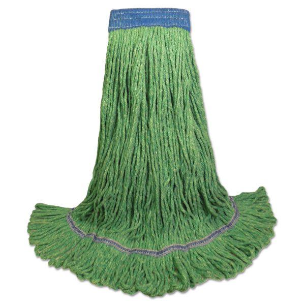 Boardwalk Super Loop Wet Mop Head, Cotton/Synthetic Fiber, X-Large, Green, 12/Carton