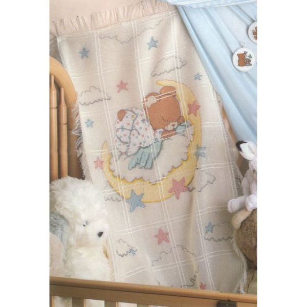 Candamar Sleeping Teddy Bear Baby Afghan Counted Cross Stitch Kit