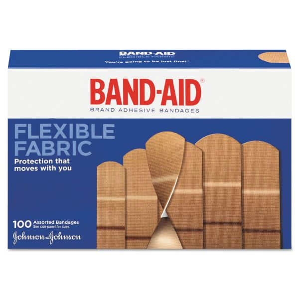 BAND-AID Flexible Fabric Adhesive Bandages, Assorted, 100/Box