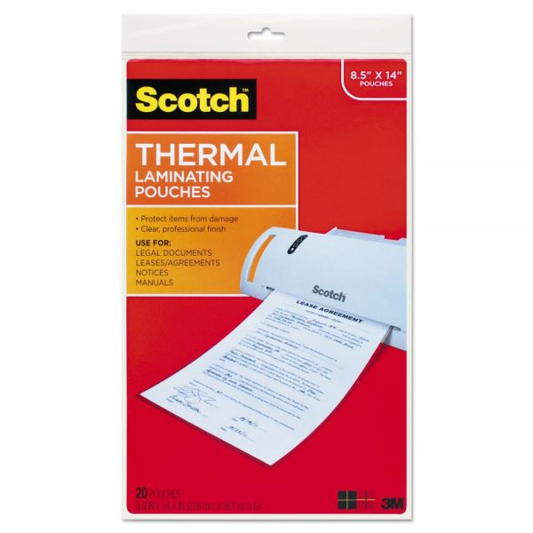 Scotch Menu Size Thermal Laminating Pouches, 3 mil, 8.5 x 14, 20/Pack