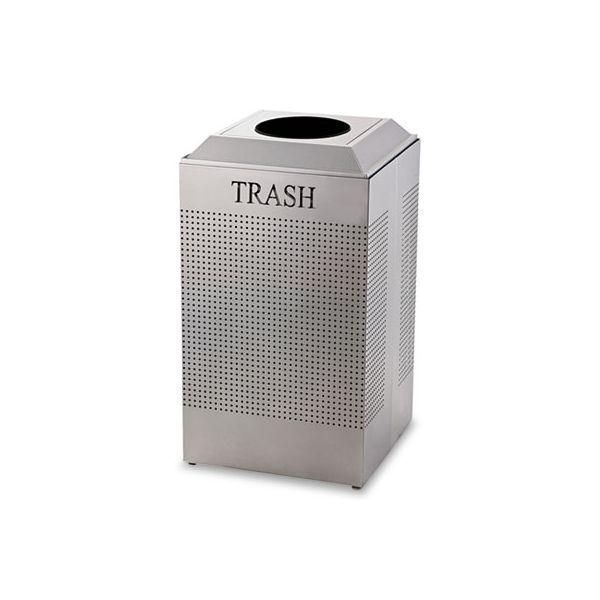Rubbermaid Commercial Silhouette Waste Receptacle, Square, Steel, 29gal, Silver Metallic